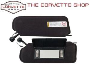 C5 Corvette Sun Visors Sunvisor w Lighted Vanity Mirror & Decal LH RH 97-04 1941