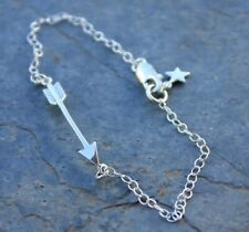 Arrow and Star Sterling Silver Bracelet or Anklet- tribal- progress, protection