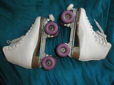 Ladies White Boot Roller Skates, Purple Wheels, Sure Grip International, size 9