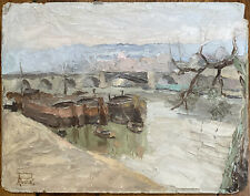 Tableau Impressionnisme Paysage Péniches Peinture signée André Roussel 1888-1968
