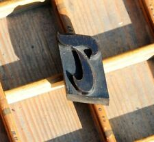 letter: T rare wood type letterpress printing block woodtype font antique print.