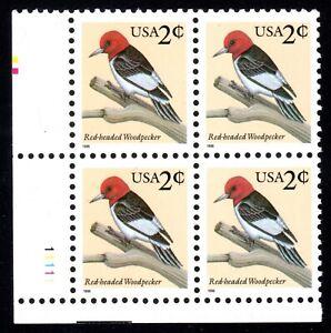 Sc# 3032 2 Cent Red Headed Woodpecker (1996) MNH PB/4 P# 1111 LL SCV $0.50  Read