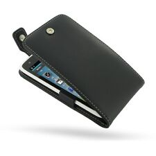 Pdair Hand Made Leather Flip Top Carry Case Cover for Sharp SH530U Black