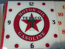 "*NEW* 15"" TEXACO MOTOR OIL GASOLINE  SQUARE GLASSreplacement clock FACE FOR PAM"