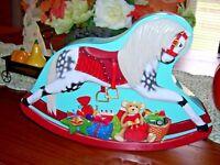 Christmas Rocking Horse Tin Box