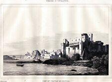 Brindisi: Porto e Castello. Terra d'Otranto. Steel engraving + Passepartout.1838