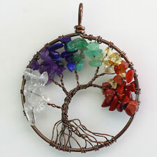 New Natural Multicolor Gem Chip Beads Tree of Life Copper Round Pendant
