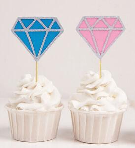 Darling Souvenir| Gender Reveal Diamond Glitter Cupcake Toppers|-ItU