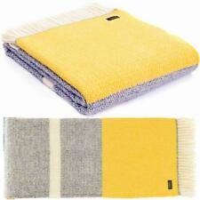 TWEEDMILL KNEE RUG Wool Sofa Throw Blanket BRITISH ILLUSION PANEL GREY/YELLOW