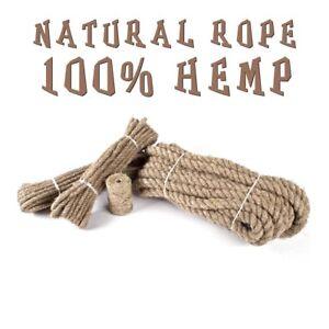 Hemp Rope Natural Untreated 3 Strand Twisted Cord Twine Sash Crafts 6 - 24 MM