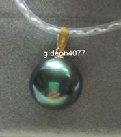 NEW  AAA+ natural 10mm black green round Tahitian pearl pendant 18K YELLOW GOLD