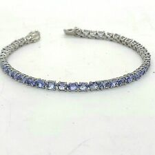 """New """"Y"""" Sterling Silver Appx 8.0 Carats Tanzanite 3.5mm Tennis Bracelet 7.5' in"""