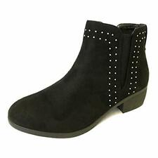 LADIES WOMENS LOW BLOCK HEEL ANKLE STUDDED GIRLS CHELSEA SHOES BOOTS SIZE 3-8