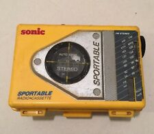 Sonic Sportable No S75 Am / Fm Radio Cassette Stereo Ge Vintage Belt Clip Yellow