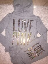 VICTORIA SECRET PINK SWEAT SHIRT HOODIE & SWEAT PANTS SET S GRAY BLING SEQUIN