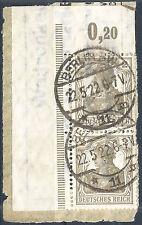 Germania MiNr. 102 im Paar vom Plattenoberrand aus Ecke 1 geprüft + gestempelt