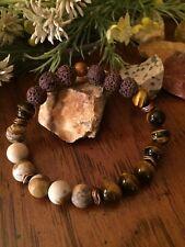 Aromatherapy Essential Oil Diffuser Bracelet Lava Rock Beads Tiger's Eye Jasper