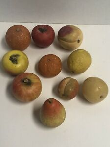 Antique Carved Italian Alabaster Stone Fruit Lot of 10 Wood stems
