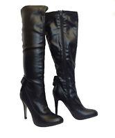 "Ladies Womens Long Black PU Knee Height Boots 4.5"" High Heel Side Zip UK Size"