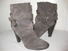 LUZZI Suede Leather Gray Ankle Boots Women's Shoes Size 37 / 7