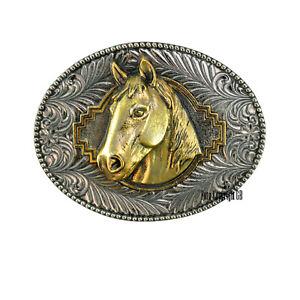Pferde Buckle Reitsport Gürtelschnalle f. Wechselgürtel 3D Reitturnier *507 gold