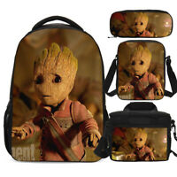 Guardian Of The Galaxy Baby Groot Kid School Backpack Set All Over Print Bag Lot