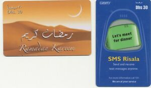 ABU DHABI two very rare different used plastic telephoncards of ABU DHABI