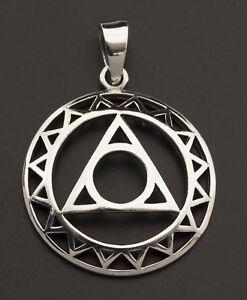 Pendentif Oeil de la Providence-Triangle Cercle Divin-Argent 925-bijou 3.9g 9999