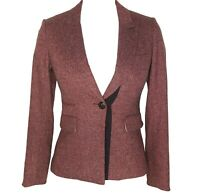 Veronica Beard Blazer 2 4 Sterling Placket Jacket Pink Black Herringbone Tweed