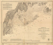 1860 Harbors of Captains Island US Survey chart Coastal Map Nautical Wall Poster