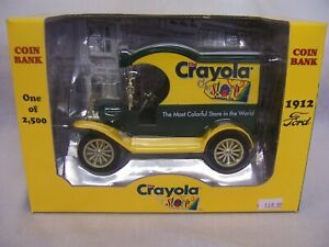 CRAYOLA DELIVERY CAR COIN BANK 1912 FORD 1:24 SCALE-HEAVY DYE-CAST METAL GEARBOX