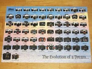 "NIKON POSTER PLAKAT STAMMBAUM 1997 ""EVOLUTION OF A DREAM"" MADE in JAPAN MINT"