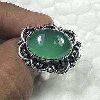 Green Onyx  & 925 Sterling Silver Overlay Handmade Ring  US Size 8 R-306