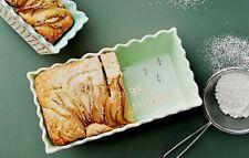 NEW ANTHROPOLOGIE CAKE BREAD LOAF PAN PIE DISH L'HIVER BAKE INSCRIPTION~GRN/GLD