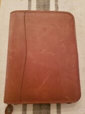 New Light Brown Leather Classic Size Franklin Covey Zip Planner Binder