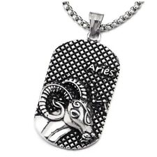 Aries Dog Tag Pendant Necklace Vintage Steel Horoscope Zodiac Signs
