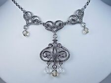 "with milgrain - 16-18"" Length 0914 D'Orlan Rhodium Plated Baroque Style Necklace"