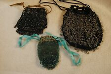 3 Vintage 20's - 30's Back Grey Blue Beaded Clutch Purse Evening Bags