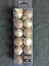 12 x Champagne Gold Christmas tree Baubles Decorations Cute Small Mini Size