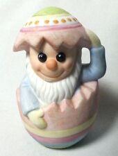 "Vintage Gnome Figurine Easter Egg Mr Mischief Ceramic Bisque COR 1986 3.5"""