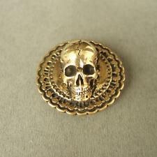 36mm Brass Flower Skull Concho Screw Back Belt Saddle Wallet Leathercraft Punk