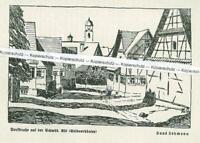 Schwäbische Alb - Dorfstraße mit Seldnerhäuser - von Hans Lehmann - um 1930