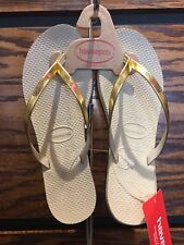 Havaianas You Metallic Flip Flops 35-36 USA 5-6w Sand Grey / Light Gold -SALE