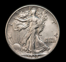 1943 50C Walking Liberty 90% Silver Half Dollar AU Great Luster No S/H *3062