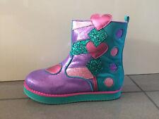 Irregular Choice 'Little Clown' (A) Kids Girls Teal / Purple / Pink Boots Shoes