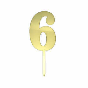 Metallic Acrylic Number 6 Cake Topper, Gold, 7-1/2-Inch