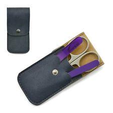 Mont Bleu 3-piece Manicure Set & Crystal Nail File in Eco-Leather Case GNU BLUE