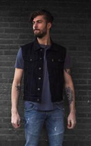 Gilet Cut jacket en jean sans manches denim couleur NOIR  Bikers M à 3XL