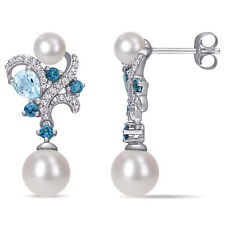 Amour 10k White Gold Cultured FW Pearl London Sky Blue Topaz & Diamond Earring