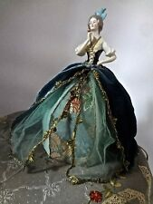 Antique Porcelain Arms Away Half Doll Lamp Gorgeous Silk Ribbon Trimmed Gown